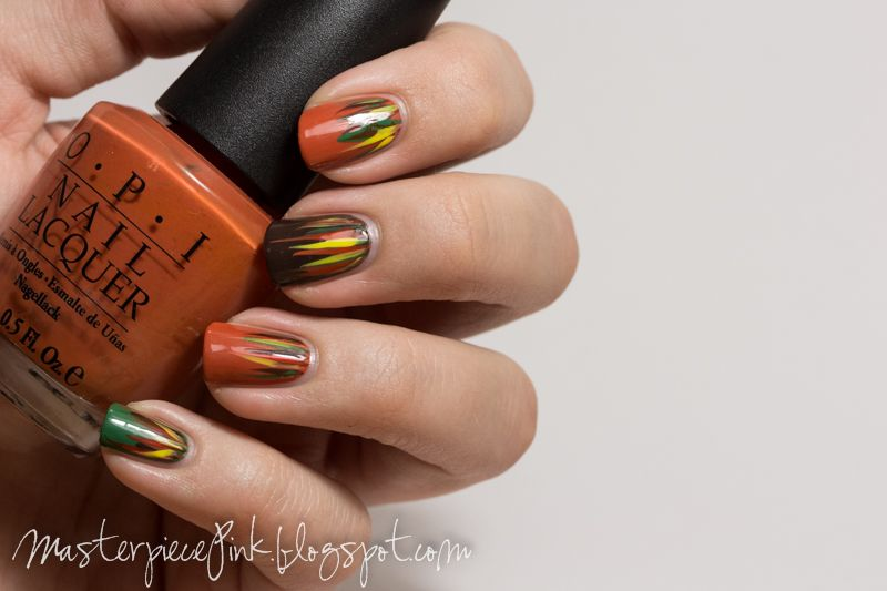 Autumn waterfall: OPI Don't Mess With OPI, OPI Chop-sticking to my story, OPI Suzy Loves Cowboys, OPI A Roll in the Hague, China Glaze Happy Go Lucky