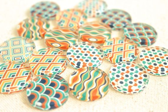 Retro Magnet Set 25mm Strong Flat Glass Magnets by fluteofthehour
