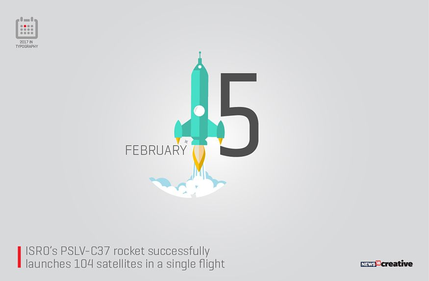 Isro S Pslv C37 Rocket Successfully Launched 104 Satellites In A Single Flight Image Network18 Creative Typography Important Dates Remember