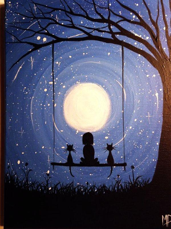 30 Best Canvas Painting Ideas For Beginners ภาพประกอบ ภาพศ ลปะ