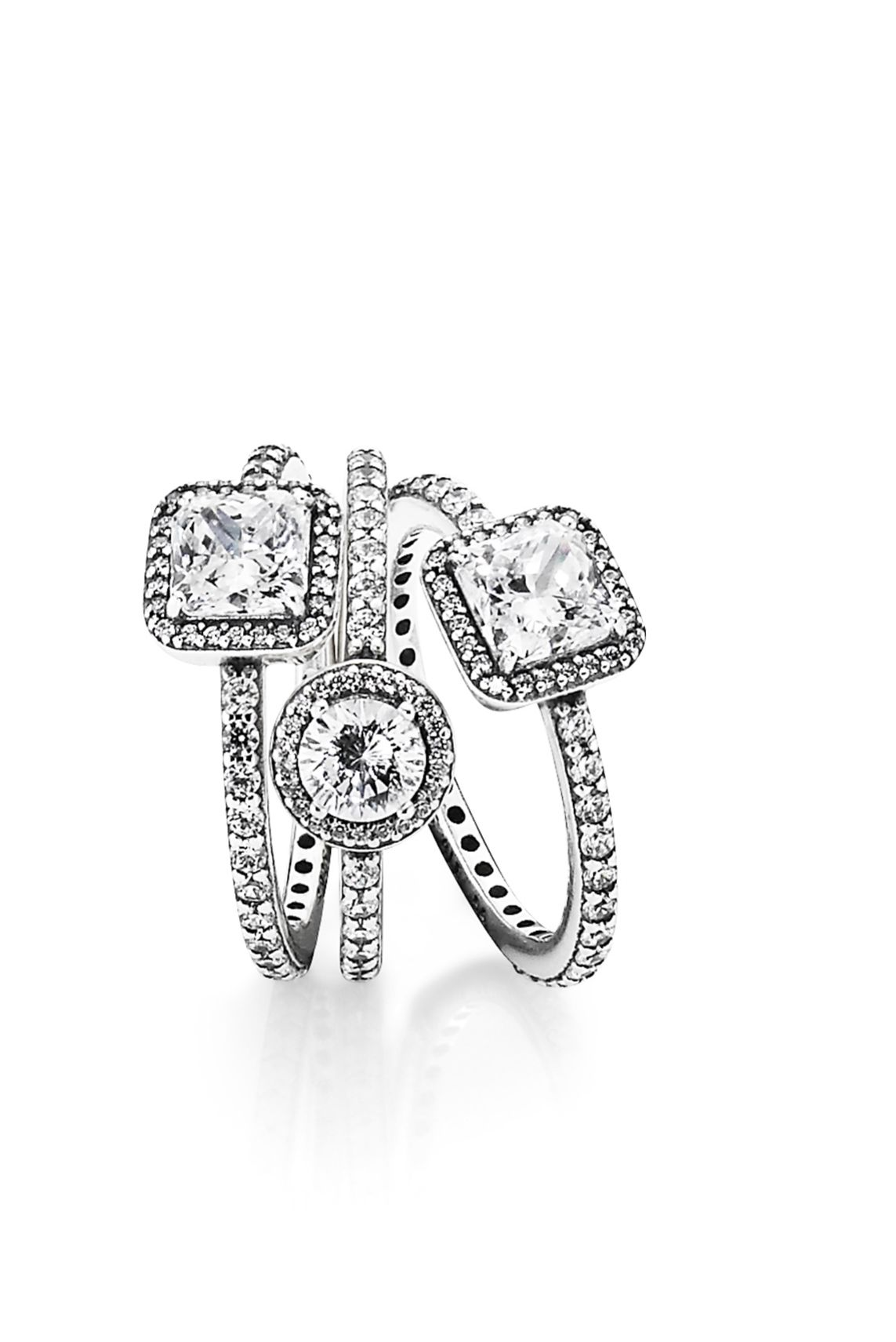 fffbf0f99 Create a stunning ring stack with PANDORA's timeless sterling silver rings.  #PANDORAring