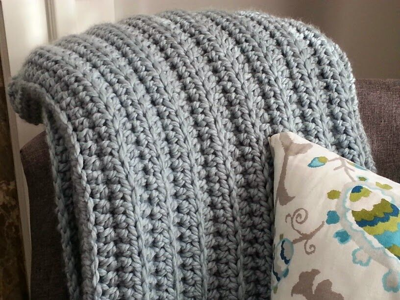 Free Modern Knitting Stitches : Modern Grace Design: Chunky Ribbed Crochet Blanket :: Free Pattern 1. Croch...