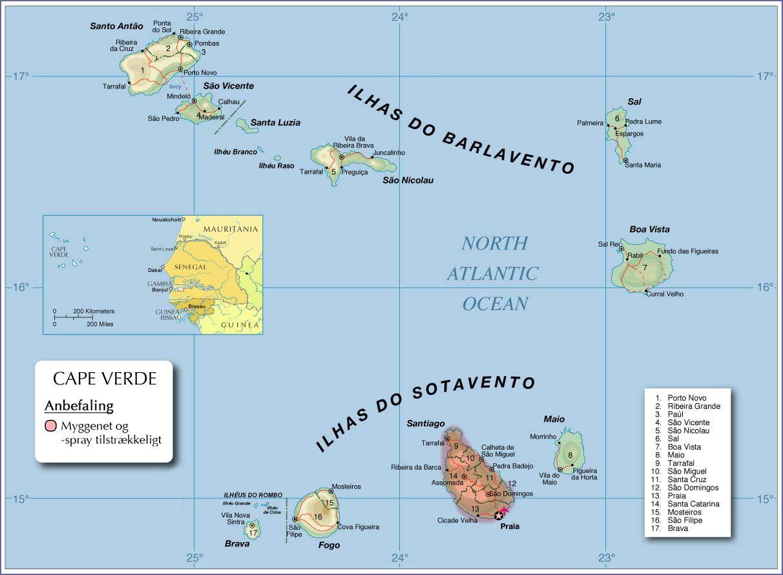 Malaria Kap Verde Kort Rejse