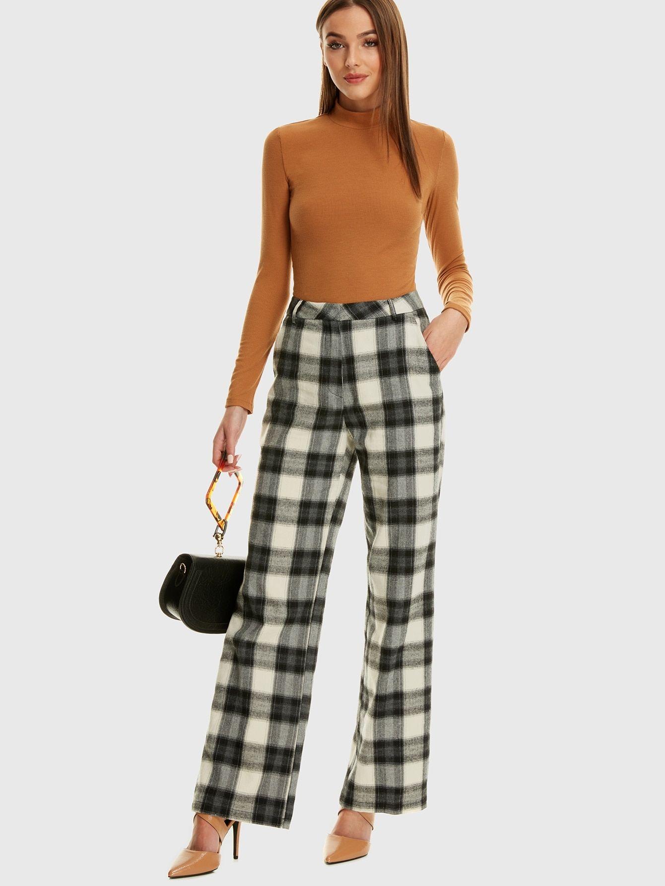 3b9ac0b803 Casual Plaid Wide Leg Regular Mid Waist Black and White Long Length Slant  Pocket Plaid Wide Leg Pants
