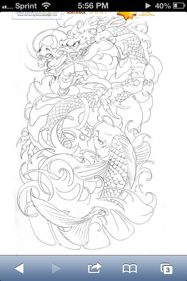 Dragon koi fish sketch nice half sleeve