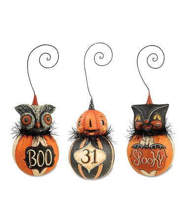 Look what I found on #zulily! Halloween Ball Ornament - Set of Three - lowes halloween