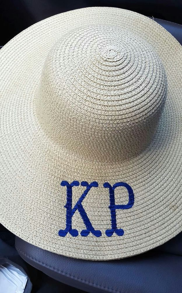 Embroidered Personalized Monogrammed Sun Beach Floppy Straw Hat ... 1b08fa3fa178