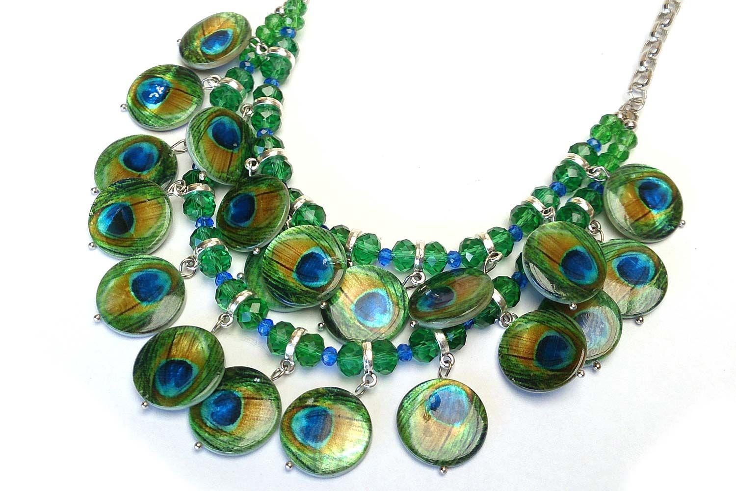 Printed shell peacock clustered necklace Designed by www.beadsonline.com.au