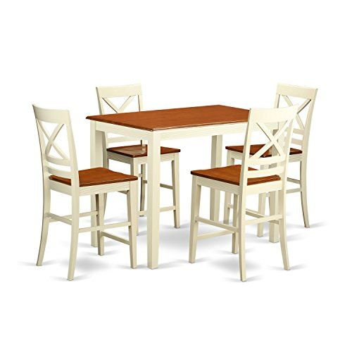East West Furniture YAQU5 WHI W 5 Piece Counter Height High Table And 4