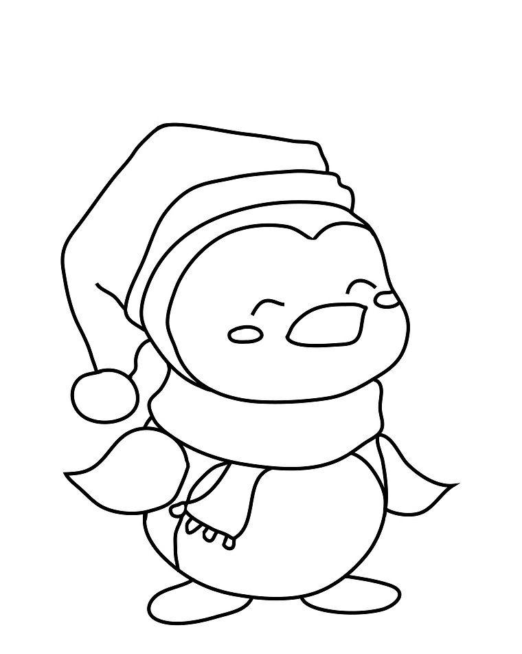 davvero comodo grande liquidazione elegante nello stile Pinguino con sciarpa e cappelli, disegno natalizio a matita ...