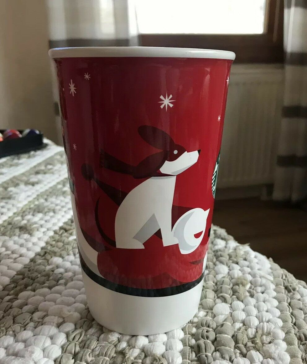 Starbucks Holiday Christmas Boy Dog Sled 2011 Coffee Mug