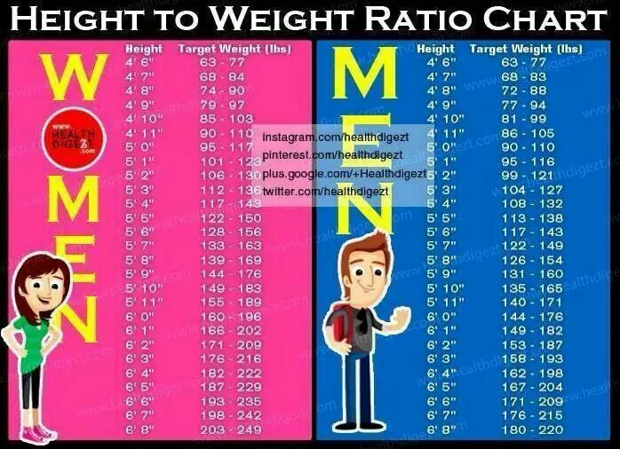 Height To Weight Ratio Chart  Fitness    Charts And