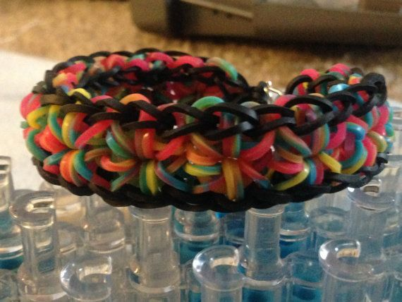Colorful Tie Dye And Black Small Adult Wrist Rainbow Loom