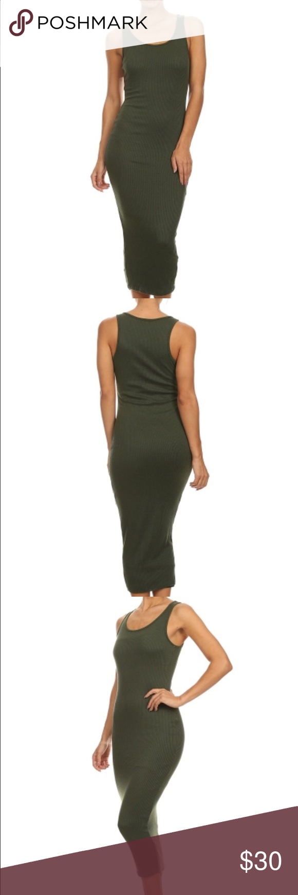 Casual Ribbed Olive Sleeveless Bodycon Midi Dress Solid color, round neckline, sleeveless, midi dress. Dresses Maxi