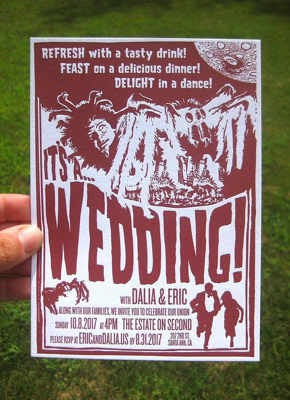 Retro Sci-fi Letterpress Wedding Invitations