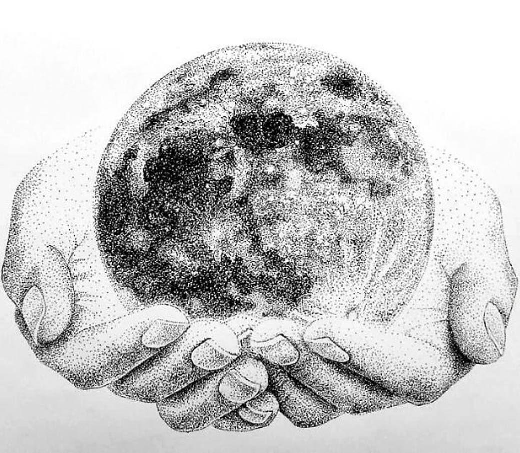 Pointillism Sketch Visualarts Black And White Illustration