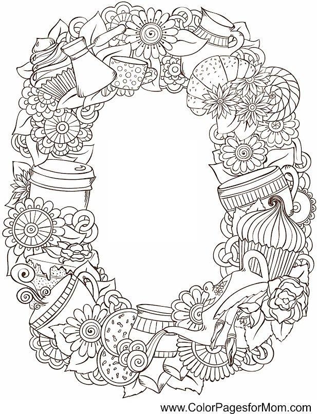Tea & Coffee Wreath - coffee coloring page 8 ColorPagesForMom.com