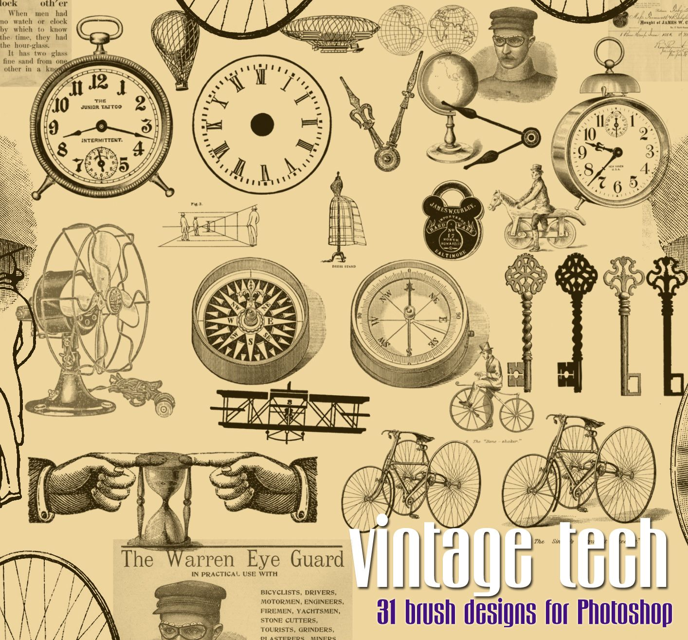 free printable steampunk images | Vintage Download – Steampunk Brushes for Photoshop