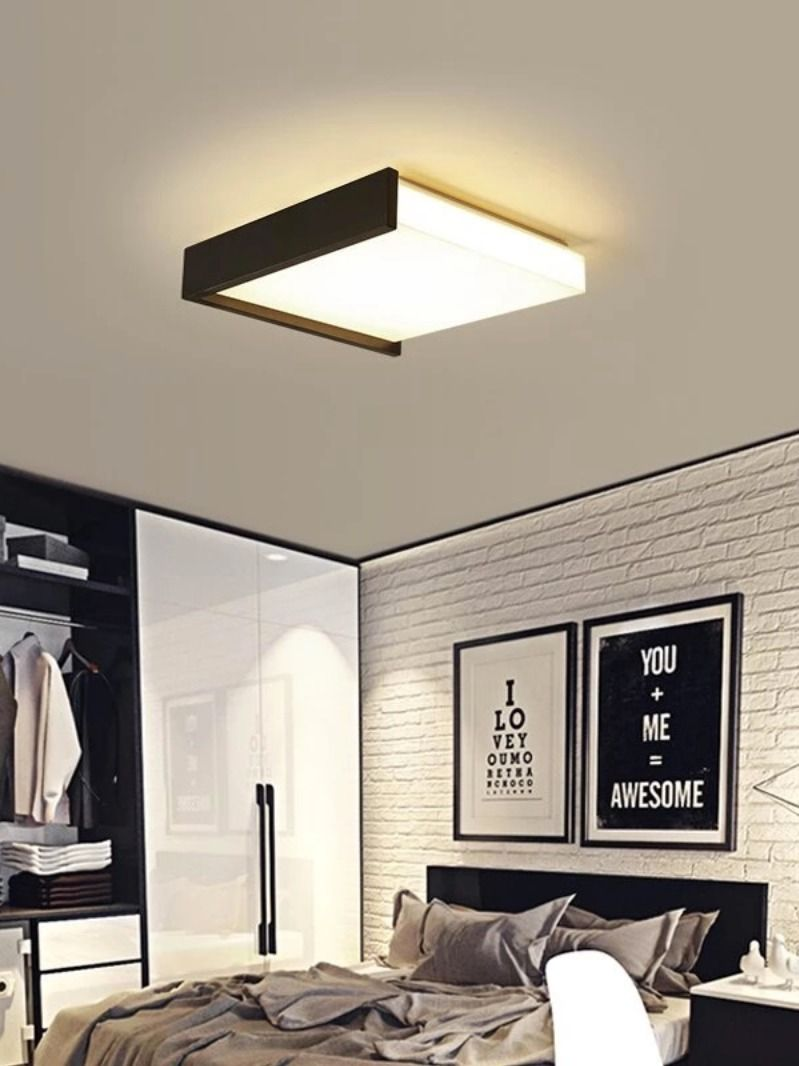 Black White Square Minimalism Simple Led Ceiling Lights For Living Room Bedroom Living Room Lighting Ceiling Lights Bedroom Ceiling Light