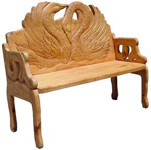 The Perfect Combination Of Beauty And Utility This Stunning Swan Bench Will Add Richness And Class To Any Seating Carved Bench Carved Chairs Carved Furniture