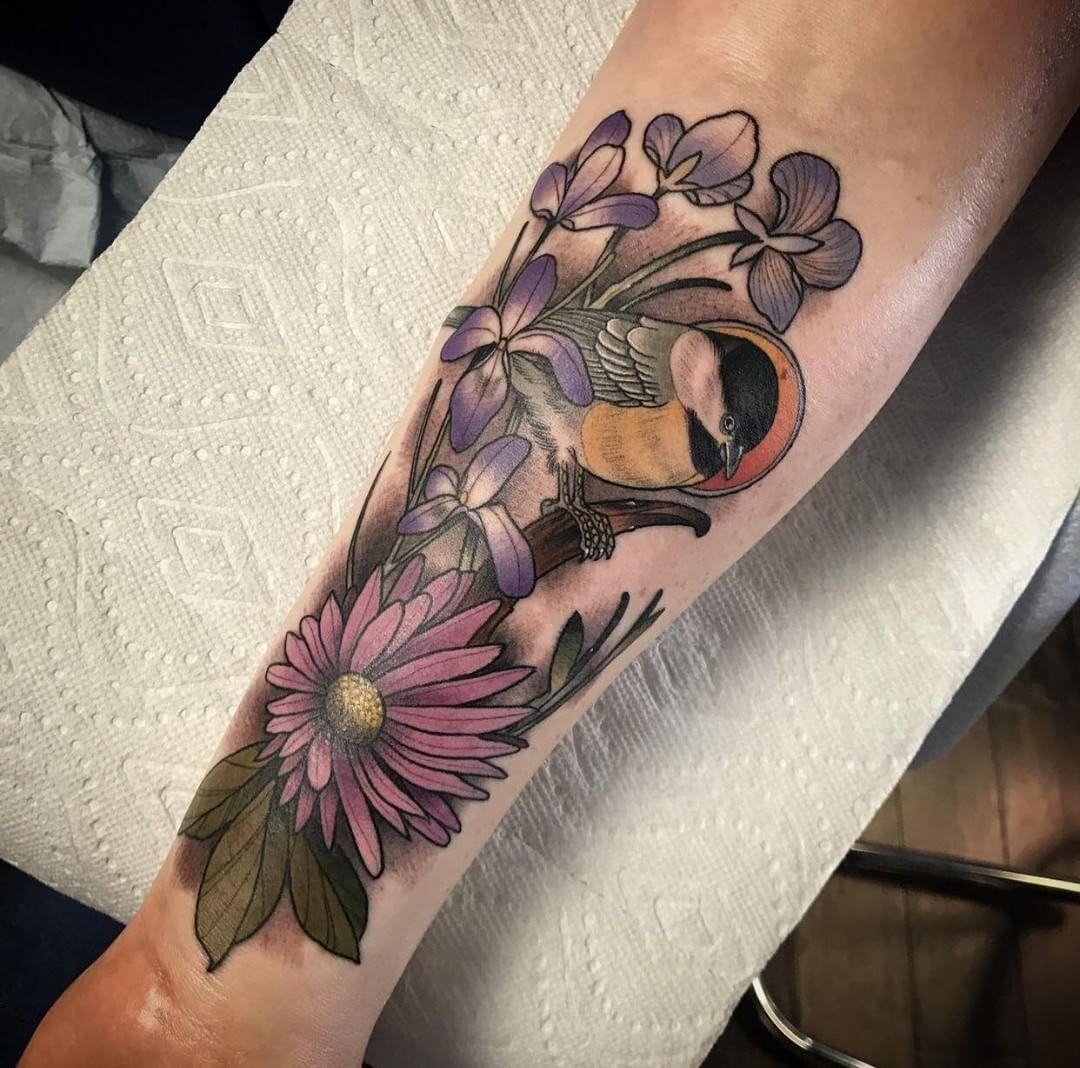 Beautiful Realistic Chickadee Tattoo By Australian Realism: First Tattoo Flowers Chickadee By Jeff Thompson @ Woodwork