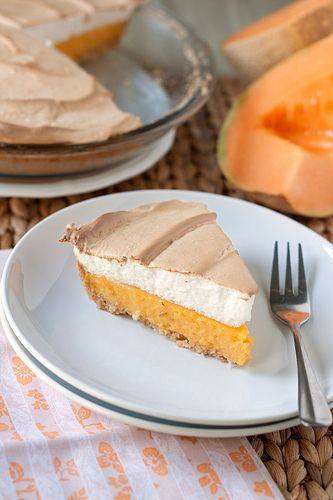 A surprisingly delicious and easy pie filled with cantaloupe custard and topped with with meringue.