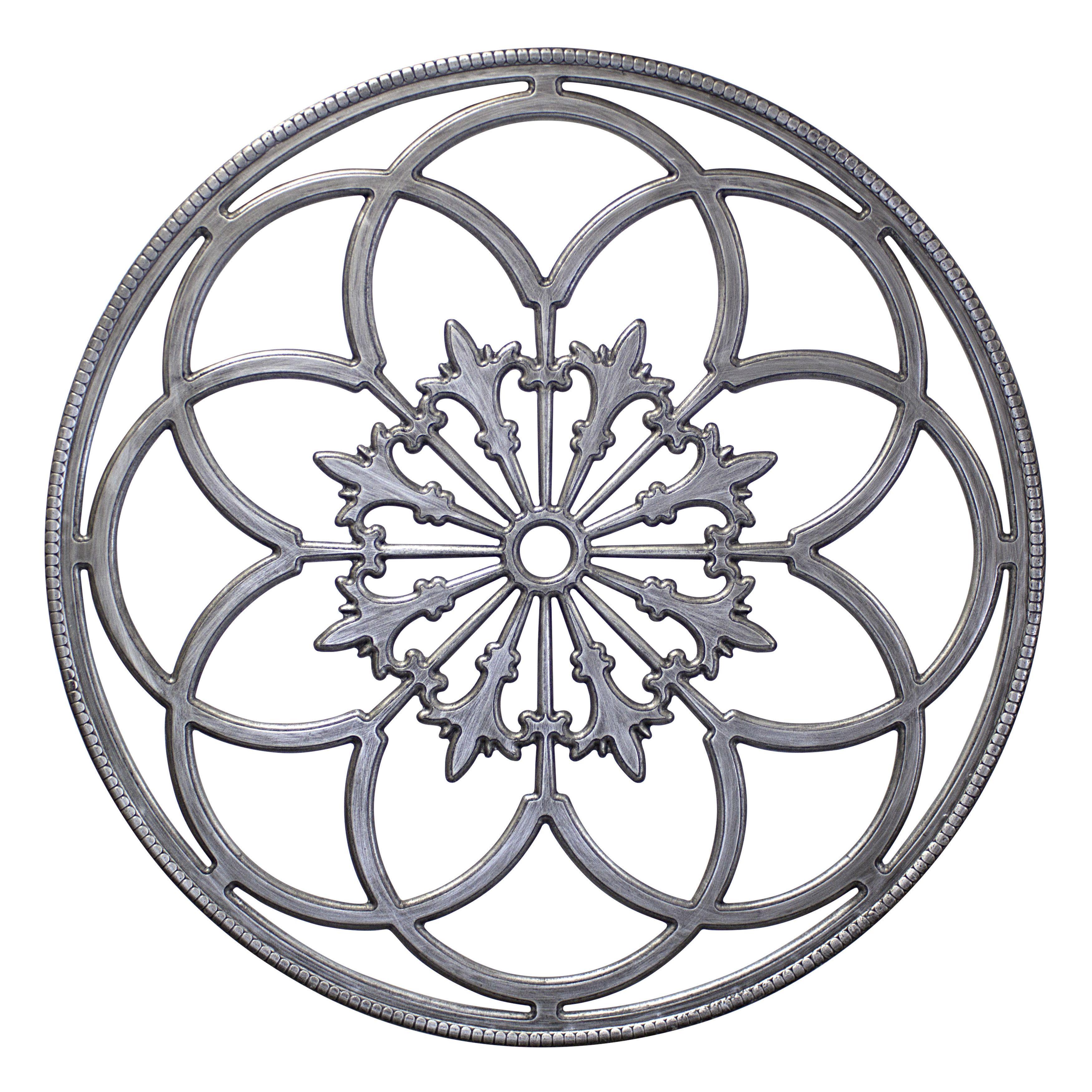 Kate anc laurel ondelette round medallion wood wall art plaque