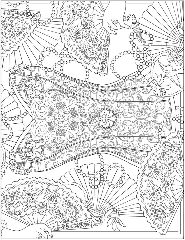 - ESCAPES Fashion Art Coloring Book By: Marty Noble - Welcome To Dover  Publications - Coloring Page 5 Dover Coloring Pages, Coloring Pages,  Fashion Coloring Book