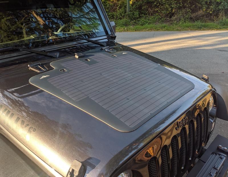 Jeep Wrangler Jk Vss System 100 Watt Hood Solar Panel In 2020 Jeep Wrangler Jk Solar Panels Jeep Wrangler