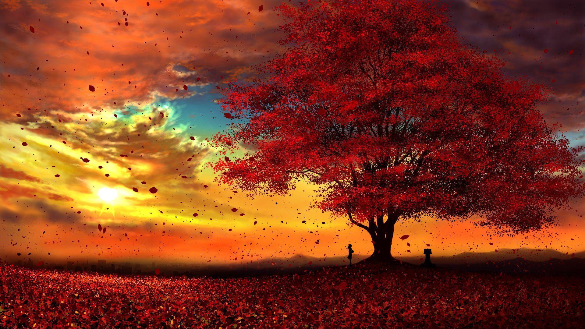 Anime Original Tree Fall Leaf Sun Peace Cloud Wallpaper