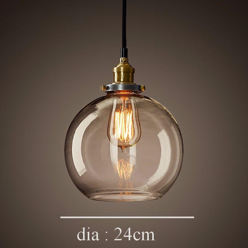 Dettagli su Nuova Industriale Vetro Lampadario Camera da Letto Sospensione Lampade Design nel