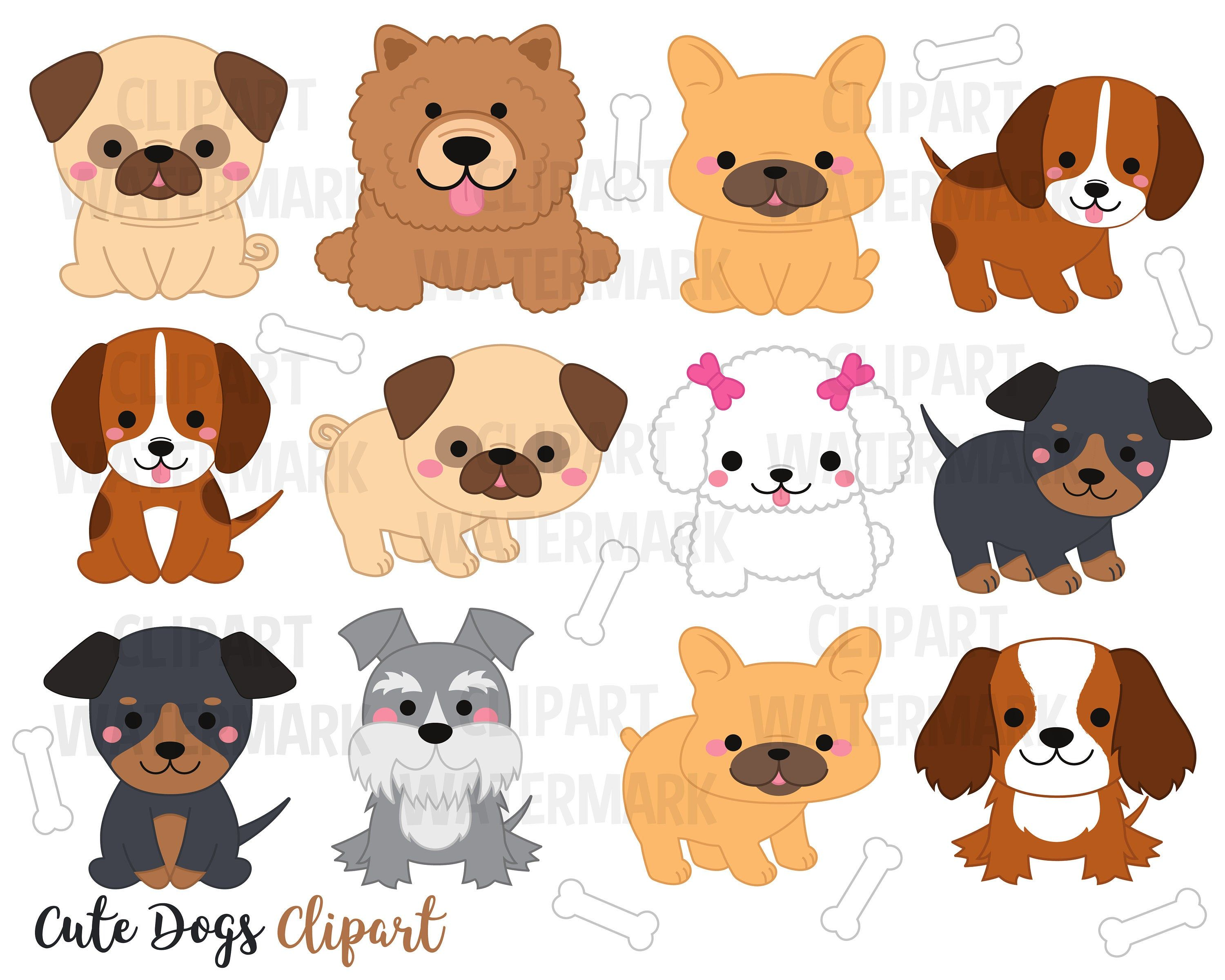 Dogs Clipart Dogs Clip Art Cute Puppy Clipart Kawaii Dogs Etsy Dog Clip Art Puppy Clipart Cute Puppies