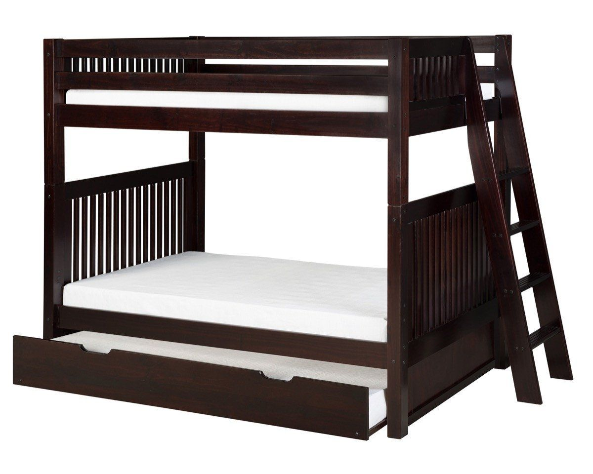 Camaflexi bunk bed with twin trundle mission headboard lateral