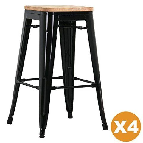 Excellent Yaheetech 26 Inches Metal Bar Stools Set Of 4 Indoor Outdoor Unemploymentrelief Wooden Chair Designs For Living Room Unemploymentrelieforg