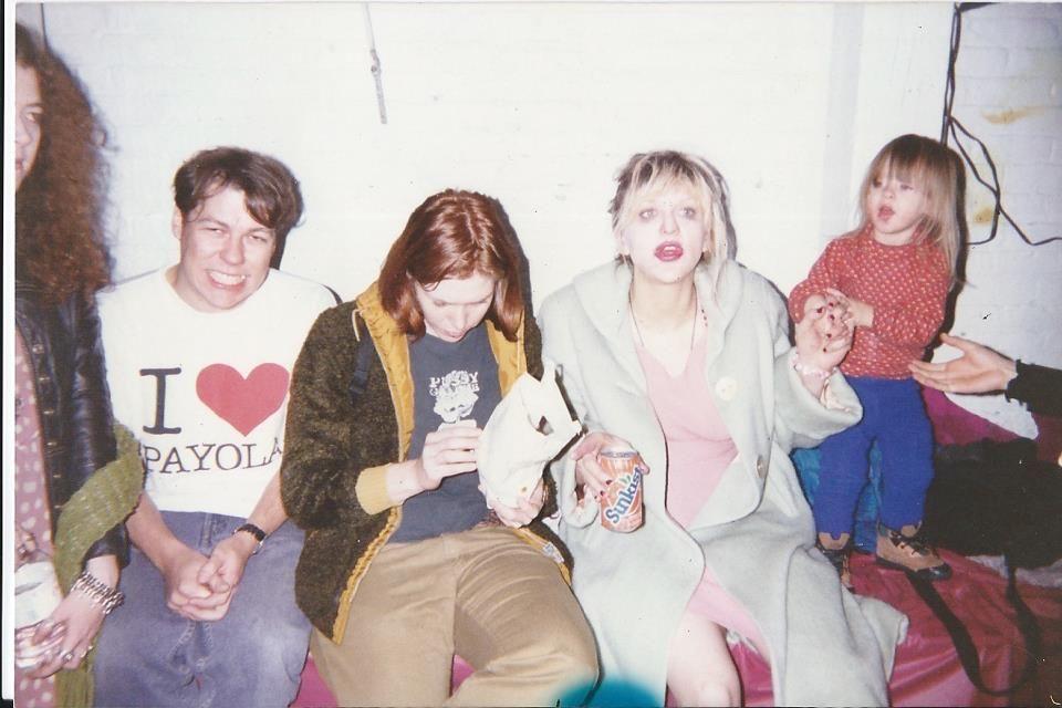 The women in HOLE ~ Melissa auf der Maur, Patty Schemel, Courtney Love Cobain, Frances Bean Cobain ~ on tour in 1994