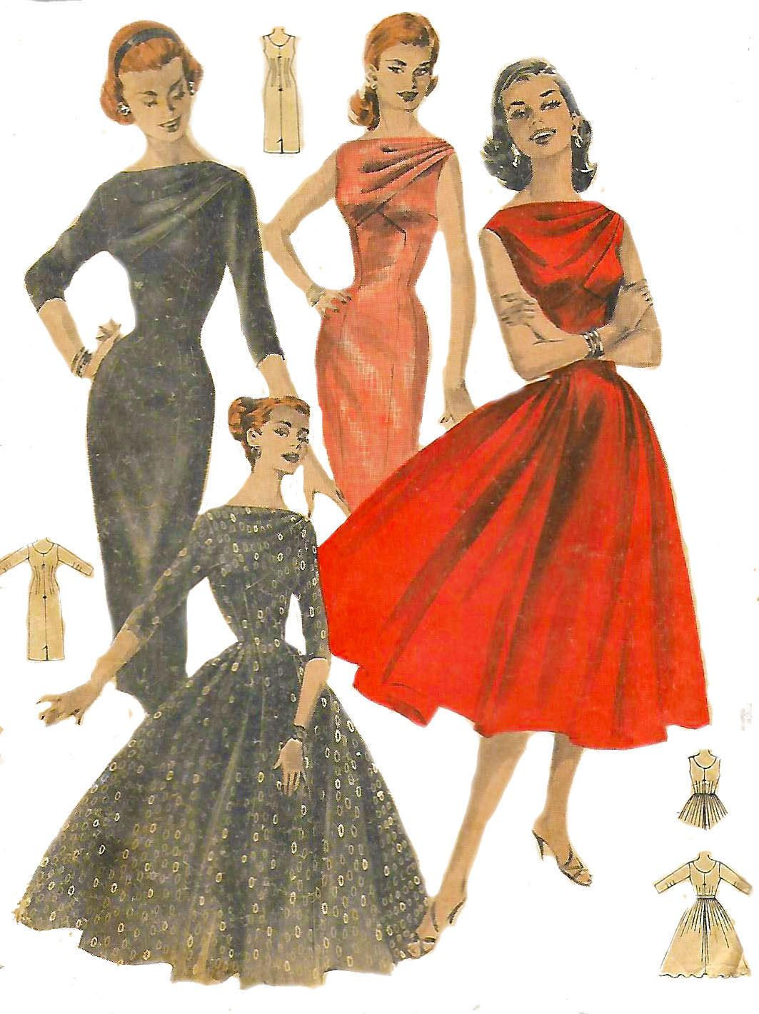Vintage 1950\'s Sewing Pattern Starlet Rockabilly Draped Bodice Dress ...