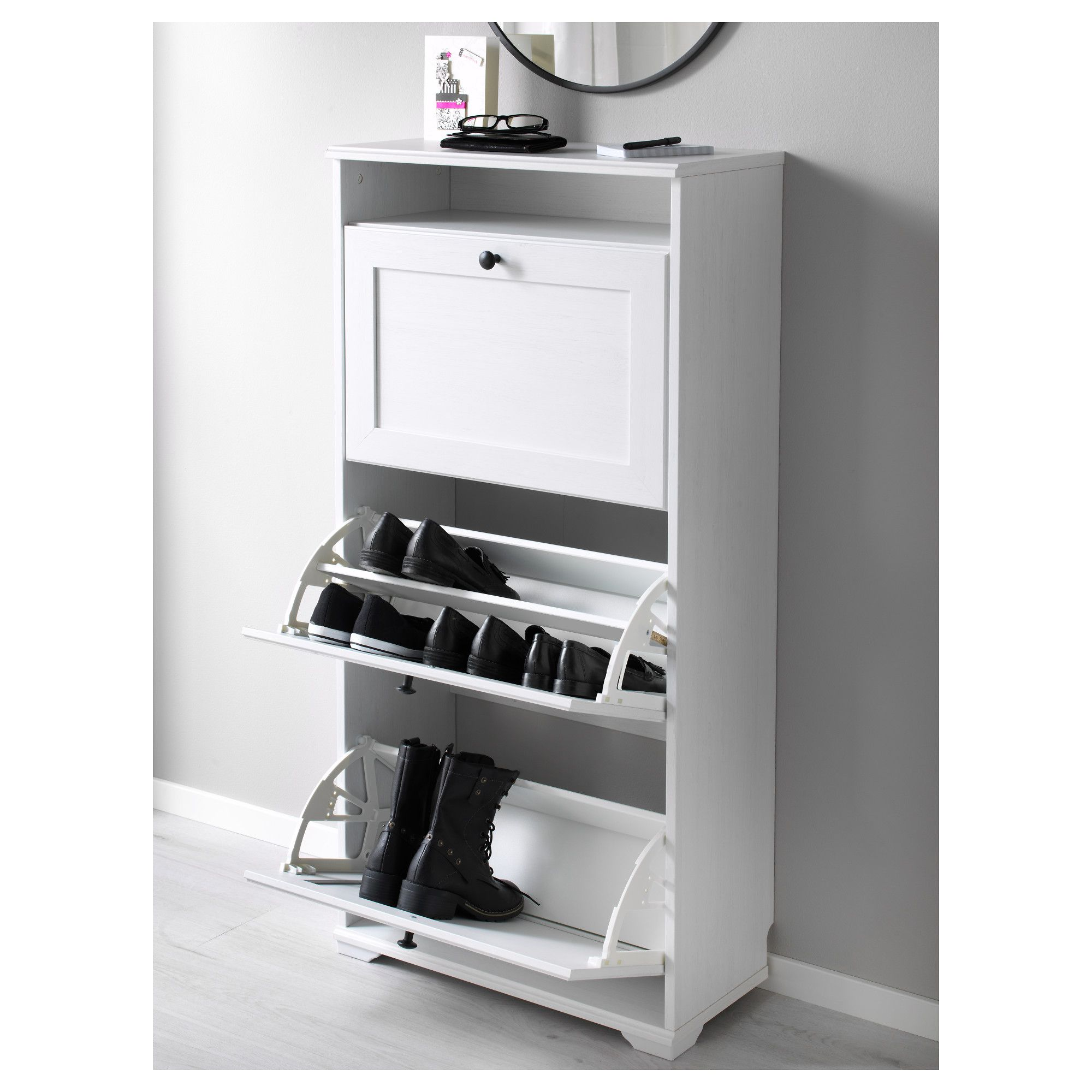 Best Brusali Shoe Cabinet With 3 Compartment White 24X51 1 8 400 x 300