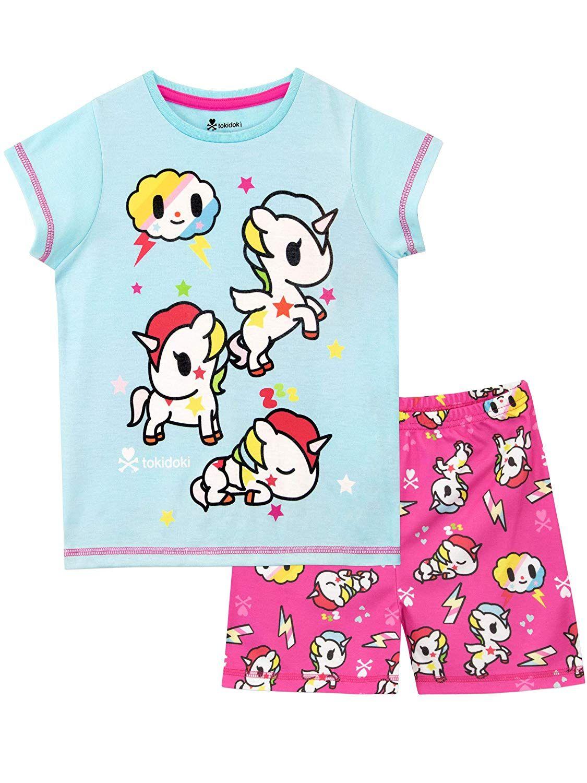 Pijama Unicornio De Mangas Cortas Para Nina Pijamas Para Ninas Unicornio Para Ninos Pijama Unicornio