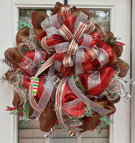 CLEARANCE Christmas bow deco mesh holiday wreath large whimsical red