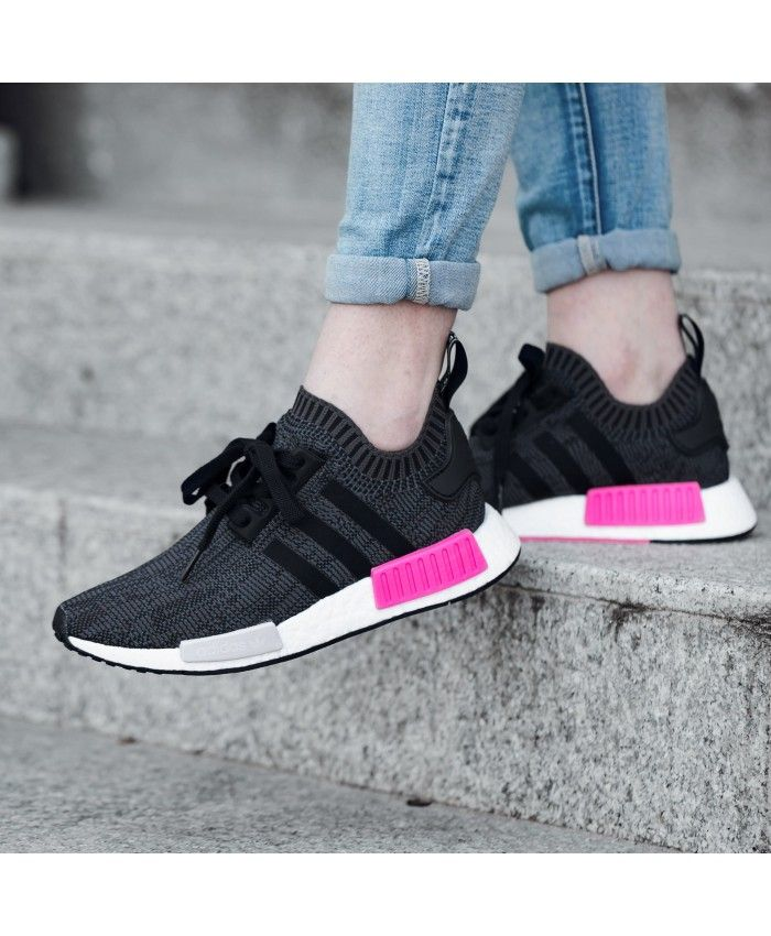 Adidas NMD R1 Primeknit Noir Rose Chaussures adidas nmd r1 Pinterest
