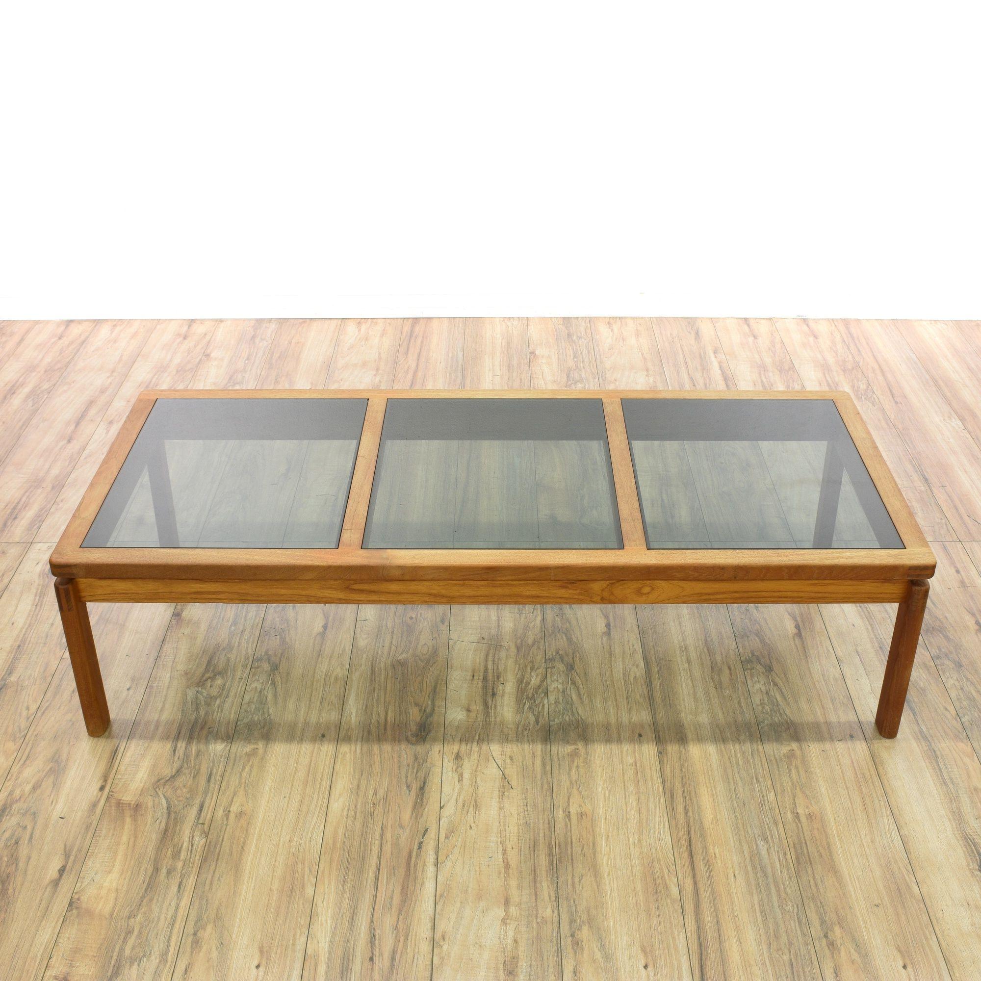 Glass Top Danish Modern Coffee Table | Loveseat Vintage Furniture San Diego