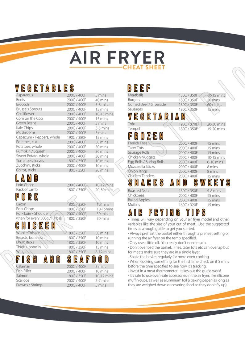 Air Fryer Cook Times Printable , Cook Time , Printable,  air fryer cook times printable