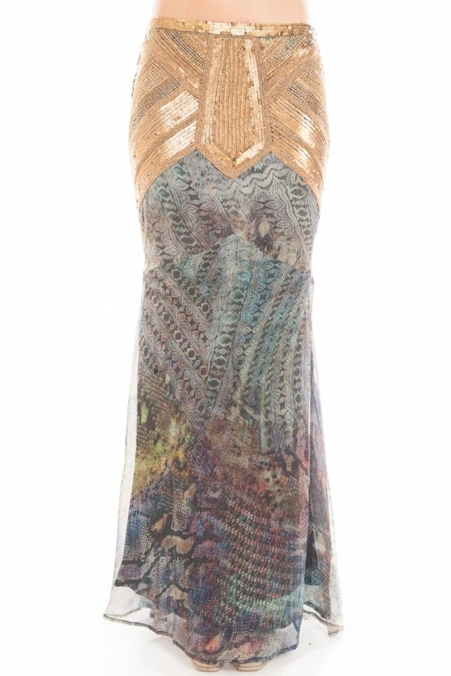 haute hippie embellished silk maxi skirt