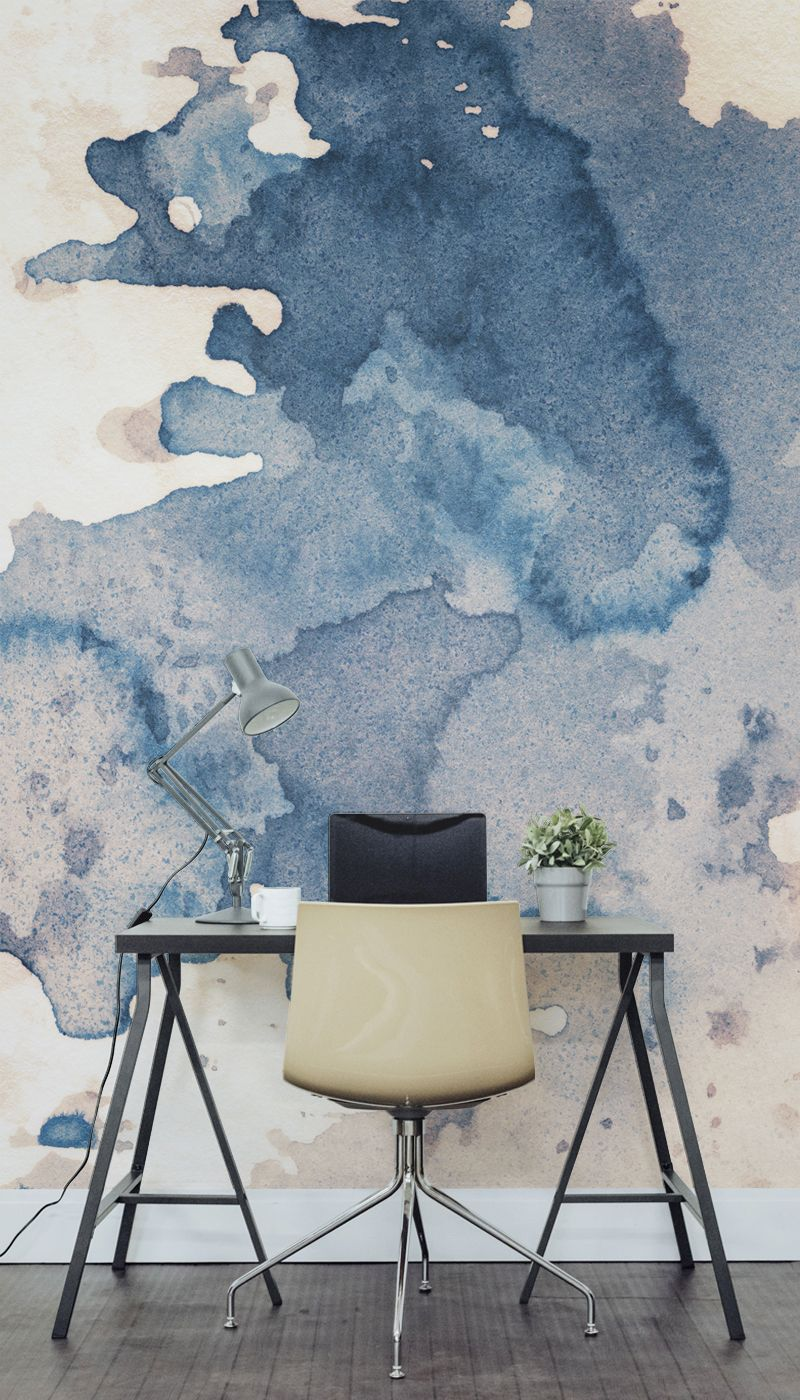 Major desk envy with this watercolour wall