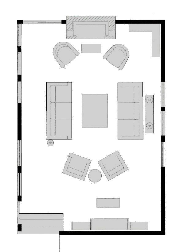 One Room Three Floor Plans Living Room Floor Plans Family Room Layout Livingroom Layout