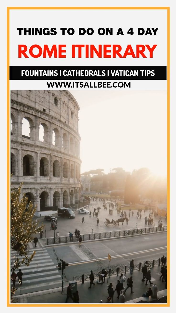Rome Itinerary 4 days - How to Make The Most 4 Days In Rome & Vatican City Everything You Need To Know About How To Spend 4 Days In Rome Italy. From Beautiful Trevi Fountain, to Spanish Steps, Where To Eat In Rome, Roman Colosseum,  Best Shopping In Rome And Tips On Visiting Vatican City.