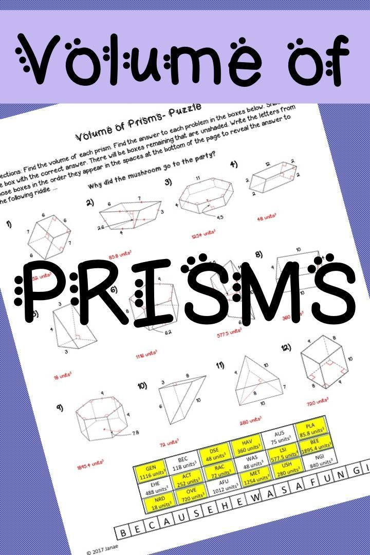 Volume of prisms. Geometry activity worksheet for middle school or ...