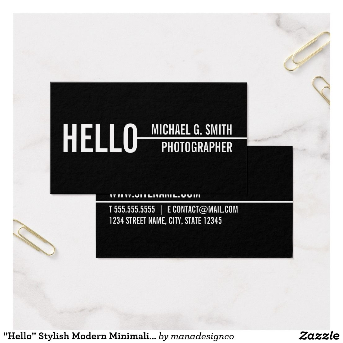Hello stylish modern minimalist business card business hello stylish modern minimalist business card reheart Images