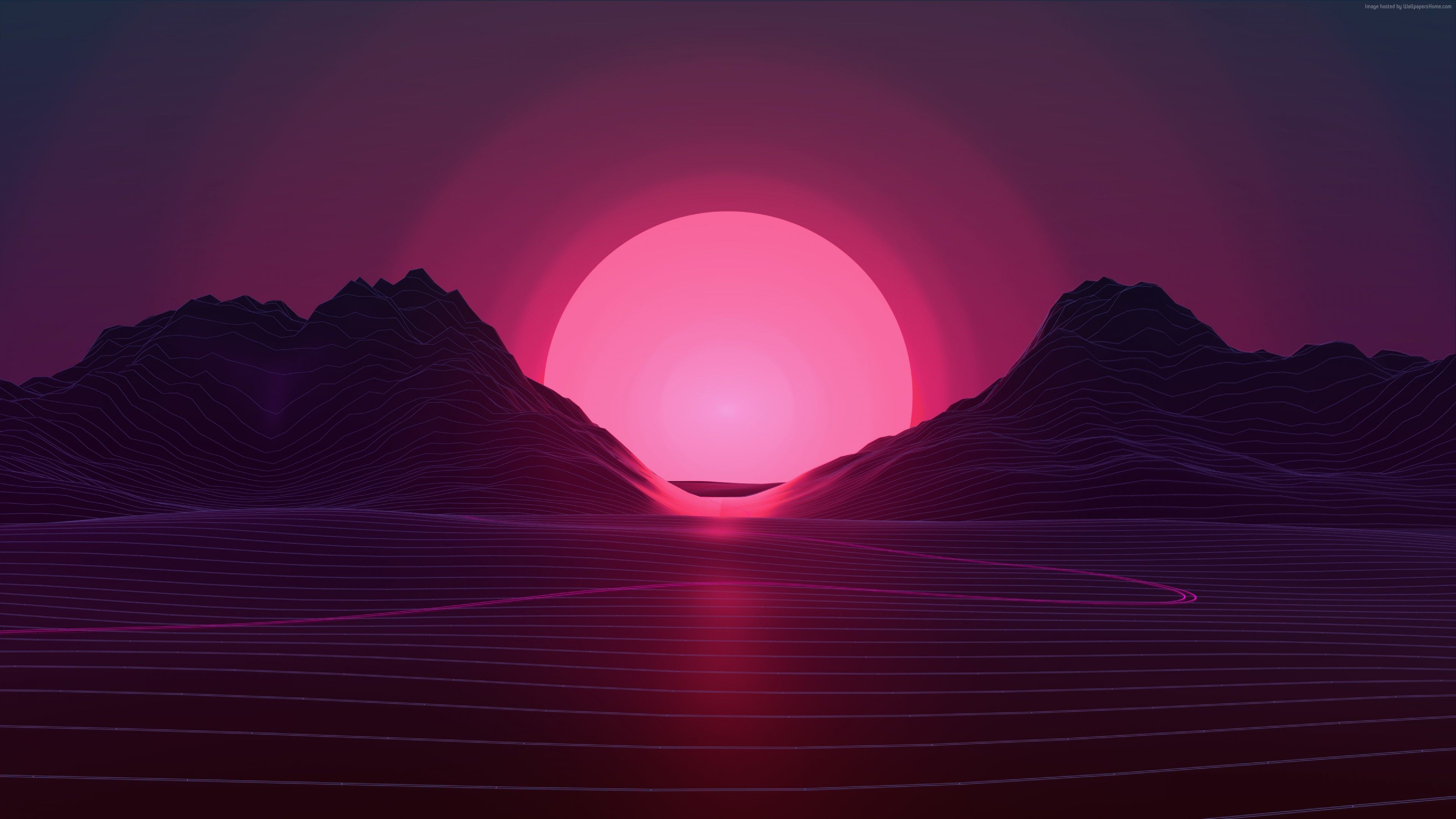 Wallpaper Retrowave Lines Sunset 4k Abstract Http Www Wallpaperback Net Abstract Wallpaper Retrowave Vaporwave Wallpaper Neon Wallpaper Sunset Wallpaper