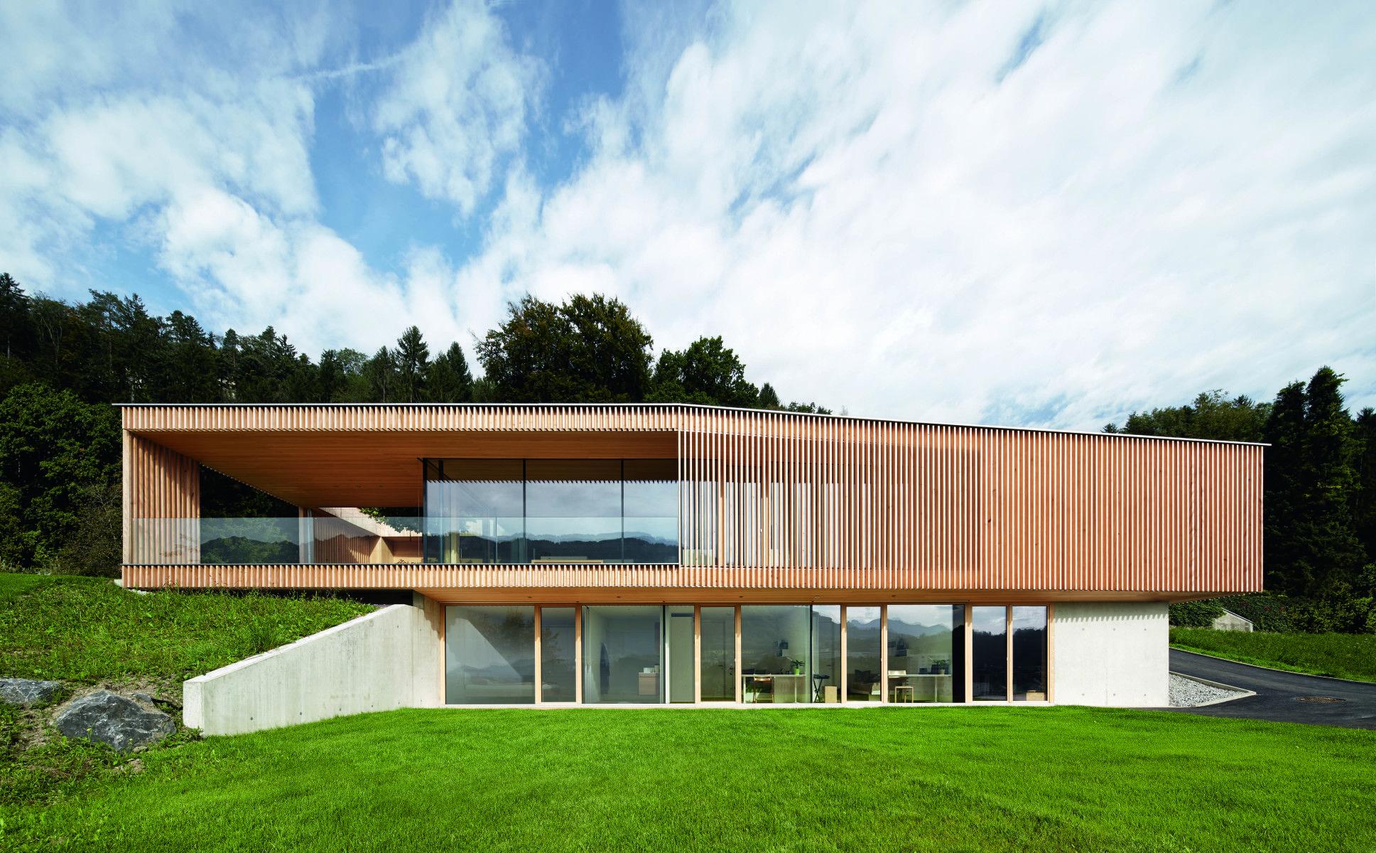Moderne Architektur Zweigeschossig Holz Beton